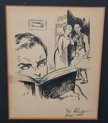 RARE PAINTING 1945 BY ELTON FAX African American Artist 11 1/4 X 15 1/4 FRAMED