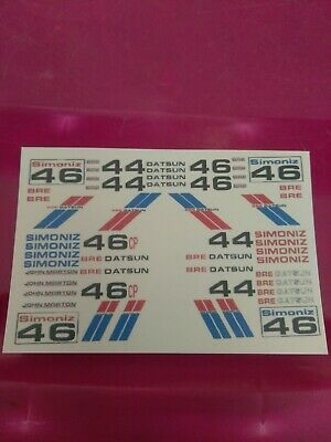 Bre Datsun water-slide decals 1:64 scale Hot Wheels slot car pinewood derby USA!