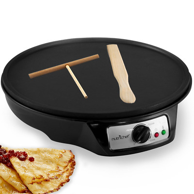 Nonstick 12-Inch Electric Crepe Maker - Aluminum Griddle Hot Plate Cooktop with