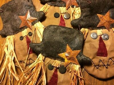 Primitive ~ Small Tea Stain Scarecrow Head Happy Fall Rusty Star Hang