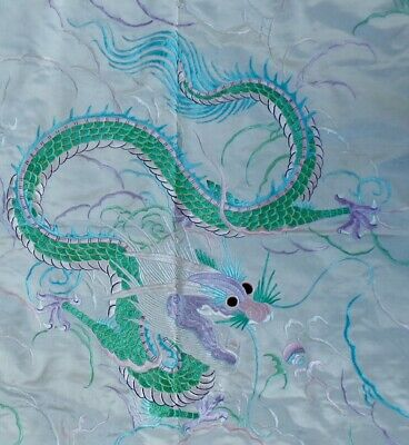 Antique 19Th Century Chinese Silk Embroidered -Wall Hanging Dragon Tapestry