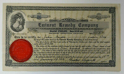 1921 Preliminary Organization Stock Certificate Eminent Remedy Company Newark NJ