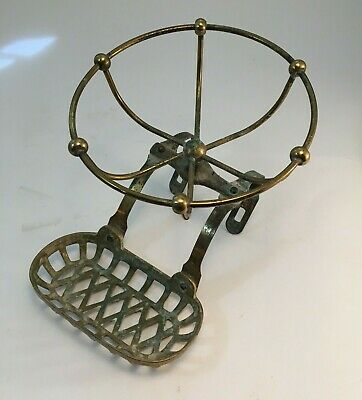 Antique Vintage Victorian Brass Soap & Sponge Holder Claw Foot Bath Tub Caddy