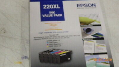 Brand New - EPSON 220xl INK VALUE PACK GENUINE PRODUCT 4 INK CARTRIDGES