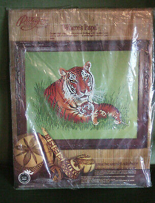 """Vintage 1970's Paragon Embroidery Kit. """"Where's Papa"""". Tiger & Cub. Never used."""