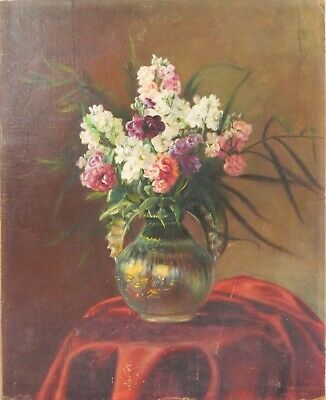 Floral still life Antique Original Oil Painting Flowers Signed 1921 Vintage Art