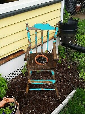 ANTIQUE WOOD CHILD'S HIGH CHAIR turned into planter