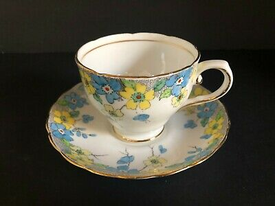 Tuscan Fine Bone China Tea Cup Saucer England Crown Floral Hand Painted Vintage