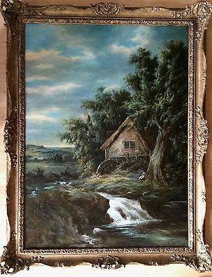 Large early 19th century oil painting on canvas unsigned gilt frame