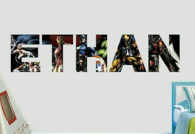 Avengers Group Battle Custom Name Wall Decal Sticker Decor Art 3D Vinyl AH273