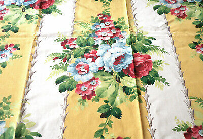Vintage Floral Bouquet Wide Stripe Faille Fabric ~ Yellow Pink Blue Red Green