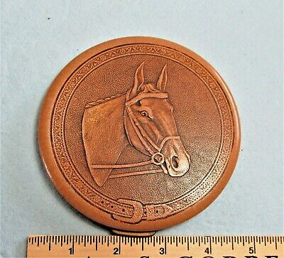Vintage Leather Rex of Fifth Avenue Ladies Powder Compact Horse 1940's - 1950's