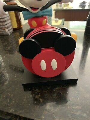 Disney Parks Mickey and Friends Colorful Kitchen Coaster Set of 4 New With Box