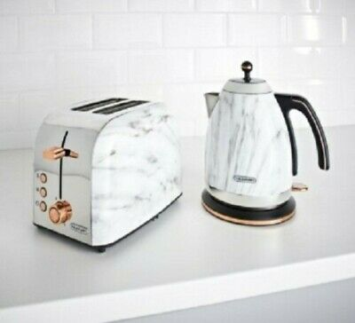 New Blaupunkt Marble Effect Kettle And Toaster BREAKFAST SET With Copper Lining