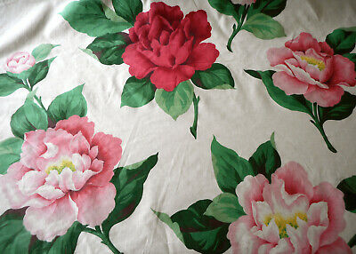 Antique Vintage Earlier Waverly Peony Floral Fabric ~ Magenta Pink Green