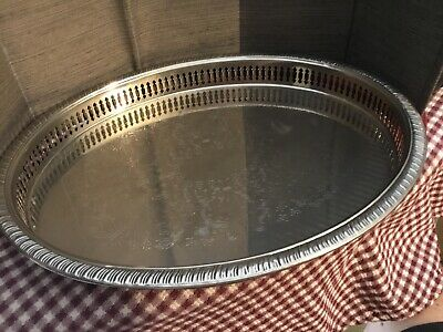 "Leonard Silver Plated Oval Galley Serving Tray, 11 3/8""X14 1/2"""
