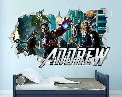 Avengers Thor Wall Decal Custom Name 3D Sticker Decor Vinyl Kids Smashed MA210