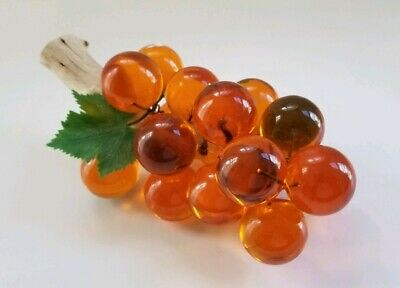 Mid century Modern Vintage Decor Amber Lucite Driftwood Grapes Bunch