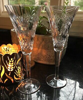 WATERFORD Crystal Millennium Universal Toast Flutes Champagne Wedding Prosperity
