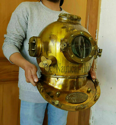 "Divers Helmet Diving Helmet 18"" U.S Navy Mark V Deep Sea Antique Scuba Vintage"
