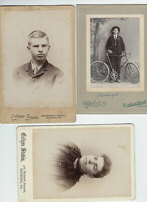 HUGE LOt OF 28  ANTIQUE CABINET PHOTOS YOUNG MAN WITH BIKE, PORTRAITS, BABIES