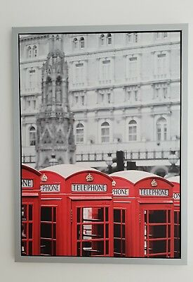 Ikea Vishult Picture, Red London Telephone Box, Silver Frame 77Cm X 57Cm
