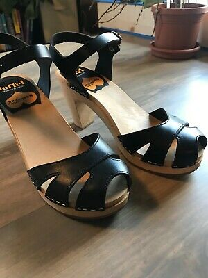f59949cd2ab63 NEW SWEDISH HASBEENS Womens Covered Low Sandal 73401 BLACK SZ 35 / 5 ...