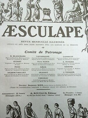 Aesculape Revue Mensuelle Illustree 1914 Jan-Jul French Magazine Bound Paris