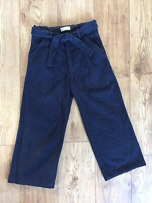 Zara Cord High Waisted Cullotes Trousers Navy Size Womans 6 Or Girls Age 13-14