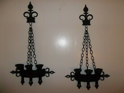 Sexton Die Cast Medieval Gothic set of Triple Candle Holder Wall sconces 1967