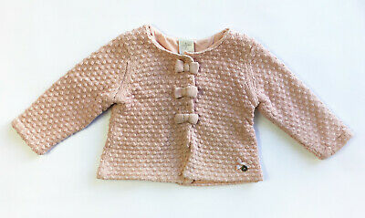 Jasper Conran Pink Cotton Knit Cardigan with Bow Detailing 12-18 Months (BC11)