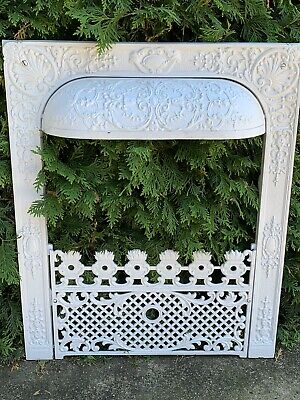 Victorian Cast Iron Fireplace Gas Grate Insert Antique Architecture Garden Whit