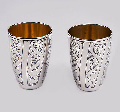 2 cups,shots solid silver Russia with enamel and gilded