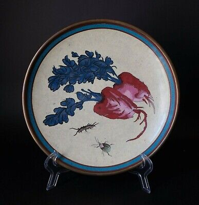 A Large Chinese Cloisonne Enamel Charger-Insect & Flower