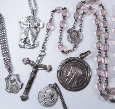 Vtg Sterling Silver Crystal ROSARY Crucifix & Sterling Catholic Pendants Medals