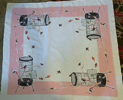 BEAUTIFUL VINTAGE TABLECLOTH BIRDCAGES PET BIRDS Pink Green California Handprint