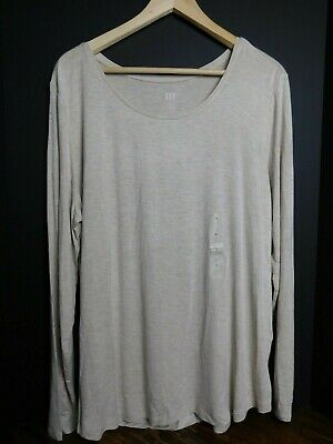 Gap Women`s Ribbed Gray Long Sleeve Tee Top T Shirt Blouse XL 2XL Msrp $30 NWT