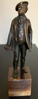 Antique Bronze & Marble Parisian Man Sculpture by French Artist Louit