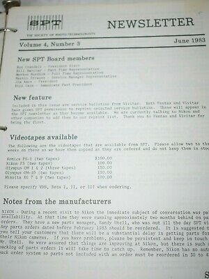 Collection of SPT Society of Photo Technologist Newsletters 1980's