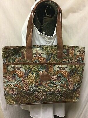 HAMPSHIRE VTG Tapestry Print Luggage Suitcase Travel Bag Tote Carry On Large