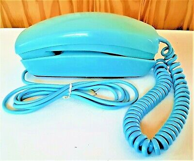 Western Electric Bell System 220 Trimline Rotary Dial Desk Telephone--Blue--1972