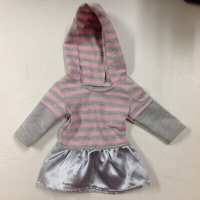 Sophias Doll Clothes Pink And Gray Striped Hooded Sweatshirt/Skirt