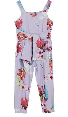 TED BAKER Girls Tropical Floral Lilac Jumpsuit Age 5-6