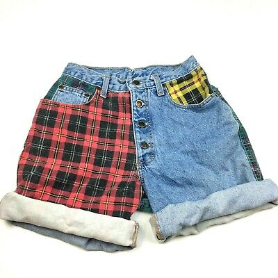 "VTG 80s Zena Color Block Denim Plaid Jean Cutoff Short High Waist Festival 26"" W"