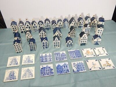 KLM Amsterdam House Huge Lot of 28 Bols Blue Delft Collectibles Plus Coasters