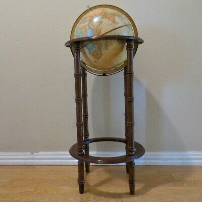 "Nice Vintage Cram's 12"" Imperial World Globe with Wood Floor Stand 37"" Tall"