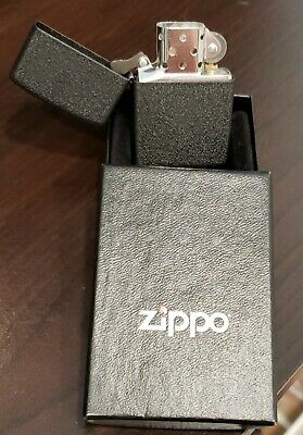 Zippo Logo Black Matte Pocket Lighter With Logo New In Box - WINDPROOF