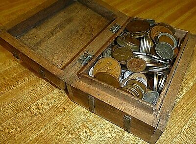 Foreign & Us  Lot Vintage  Mixed Coins Box Hand Crafted Unique Gift Silver