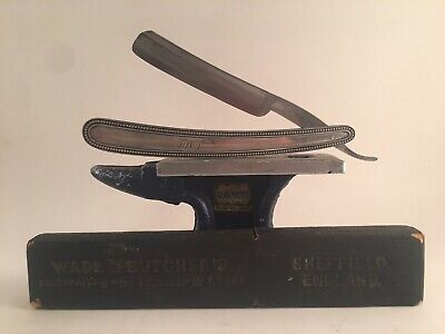 Wade & Butcher with Sterling Silver Scales 5/8 straight razor With Box