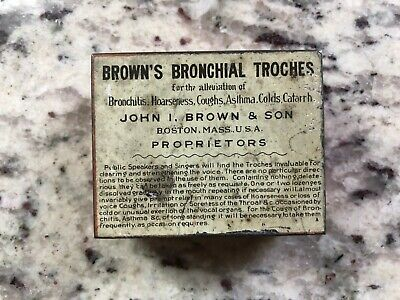 Antique 1913 Browns Bronchial Troches mfg in Boston Mass apothecary medical tin